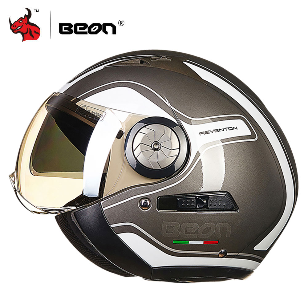 BEON Motorcycle Helmet Double Lens 3 4 Open Face Moto Helmet Moto Casco Capacete Vintage Retro