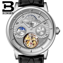 Switzerland BINGER Men Watch Luxury Seagull Automatic Movemt Watches Male Tourbillon Sapphire Alligator Hide Mechanical 80802-1