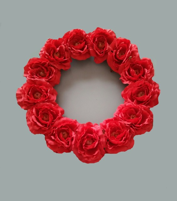 16 inches red artificial rose wreaths Christmas decoration home ...