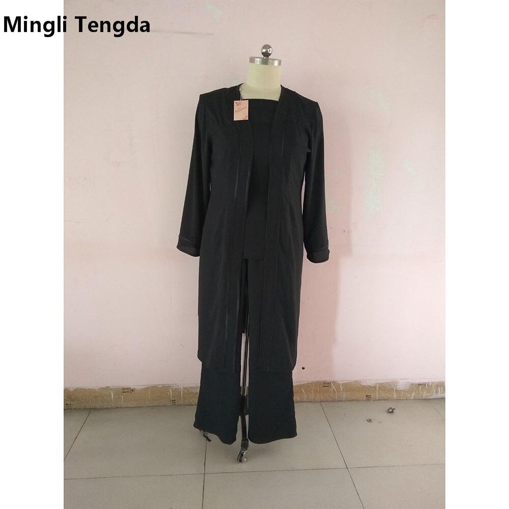 На заказ мать брючные костюмы невесты с длинным жакетом размера плюс/шифон брюки костюм свадьба Vestido De Madrinha - Цвет: Черный