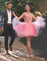 Pink Flowers Ball Gown Cocktail Dress 2017 Mini Short Crystal Coctail Dresses For Party Vestidos Curtos De Renda Para Festa CK02