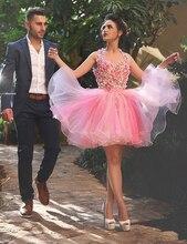 Rosa Blumen Ballkleid Cocktailkleid 2016 Mini Short Crystal Coctail Kleider Für Partei Vestidos Curtos De Renda Para Festa CK02