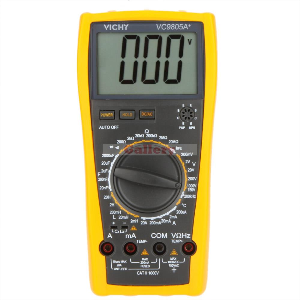 Vici VICHY VC9805A+ Digital Multimeter DMM LCR Meter w/Temperature Inductance Capacitance Frequency & hFE Test new style victor digital multimeter 20a 1000v resistance capacitance inductance temp vc9805a