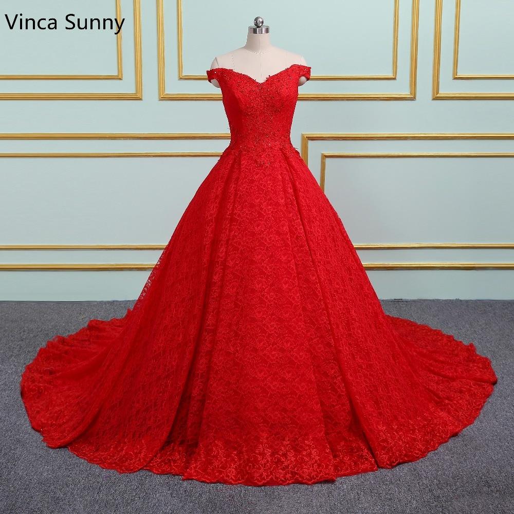 Luxe princesse rouge robes de mariée 2020
