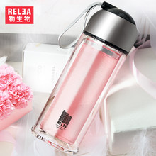 double layer portable tumbler glass bottles crystal flask water Tea Infuser Glass Tumbler borosilicate glass filter bottle