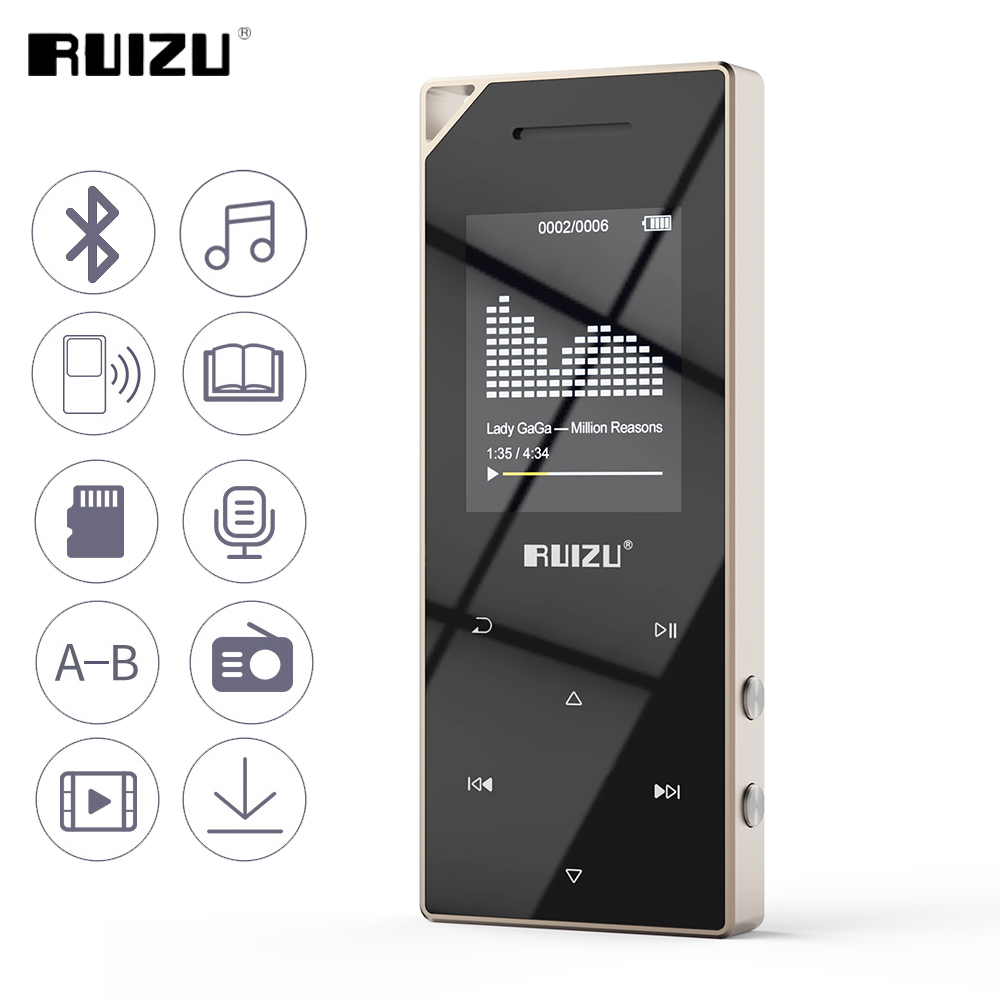 RUIZU D05 Metal Bluetooth MP3 Player Portable Audio 8GB Sport Mp3 Music Player With Built-in Speaker FM Radio Support TF Card havit® hv m6 wireless bluetooth 4 0 nfc sports speaker with built in microphone support tf card 3 5mm audio external connect up to 6 hours music playing easter day special page 7