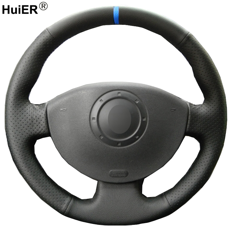 HuiER Hand Nähen Auto Lenkrad Abdeckung Für Renault Megane 2 2003-2008 Scenic 2 2003-2009 Kangoo 2008 geflecht auf Lenkung-Rad