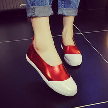 2016 Spring Summer font b Women b font Shoes Flat Shoes Genuine Leather Red Gray Loafers
