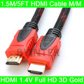 New Premium High Speed 1.4V 3D HDMI Cable 1.5M/5FT M/M For 1080P HDTV PS3 Xbox Free Shipping