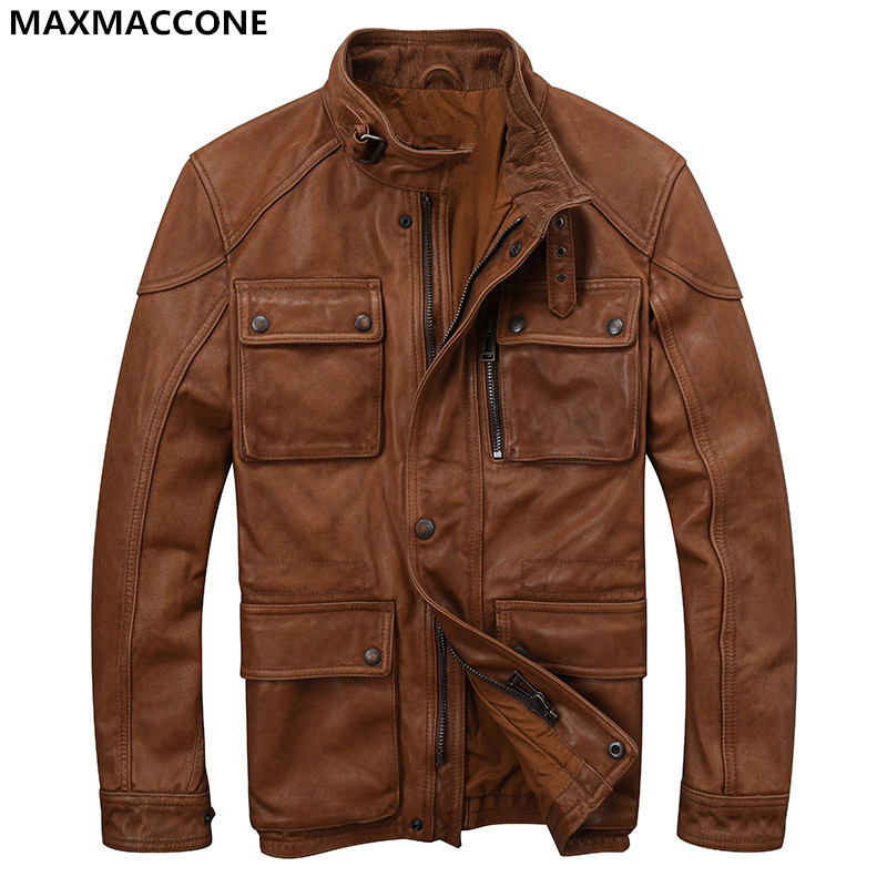 2018 Men Brown Multiple Pockets Genuine Leather Jacket Plus Size XXXL Real Sheepskin Slim Fit Casual Leather Coat FREE SHIPPING