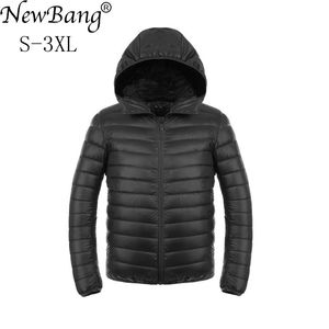 Image 1 - NewBang uzun kaban erkek ultra hafif şişme mont erkek kışlık ceketler hafif ceketler kapüşonlu Parka rüzgarlık tüy Parka