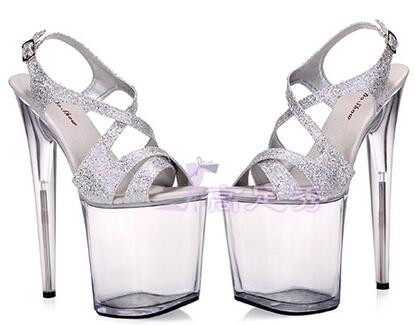 Shoes Woman High-heeled Shoes 20cm Nightclub Transparent Crystal Shoes Banquet Water Table Sandals Model Shoes Size 34-44 20cm high heeled shoes sexy shoes full transparent crystal bag sandals performance shoes 8 inch high heeled shoes