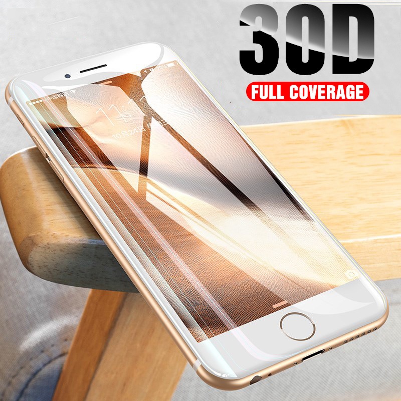 30D Curved Edge Protective Glass On The For IPhone 6 6s 7 8 Plus X XR XS MAX Tempered Screen Protector For IPhone 8 7 6 6s Film