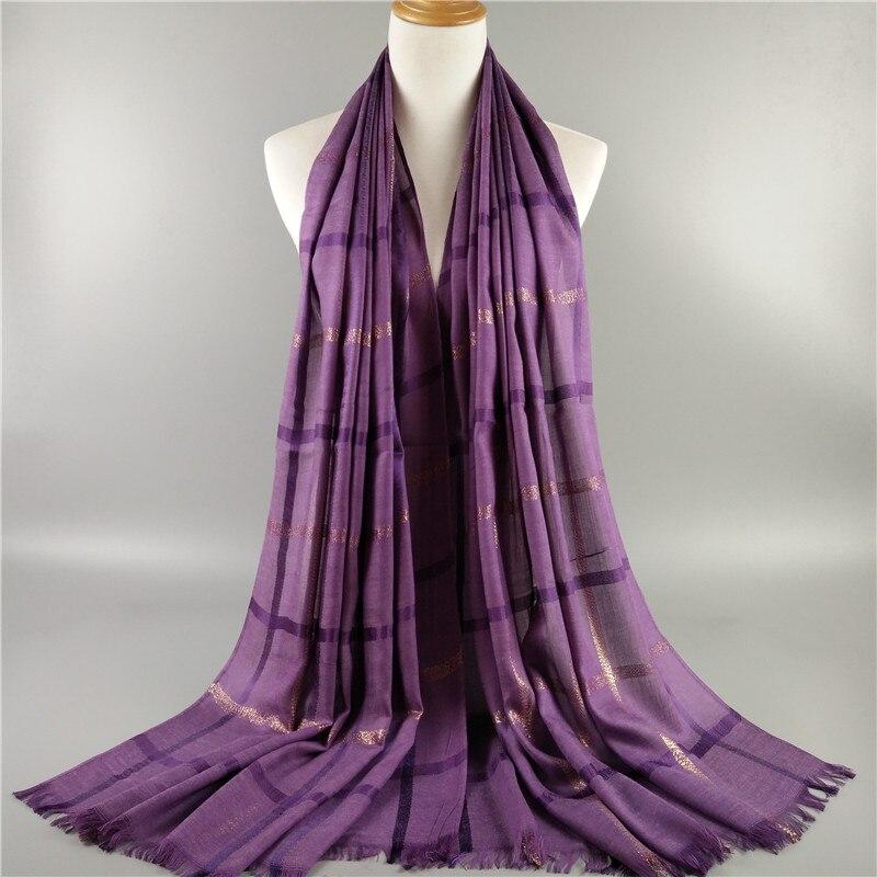 NEW NICE DESIGN Big Size plain plaid shawls elegant muslim cotton golden lurex hijabs women wraps