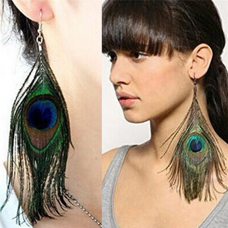 Peacock feather Crystal Long Drop Earrings For Women Bijoux Jewelry