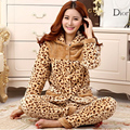 Espessamento das mulheres conjuntos de pijama de flanela inverno coral feminino fleece sleepwear veludo salão set-manga longa ocasional