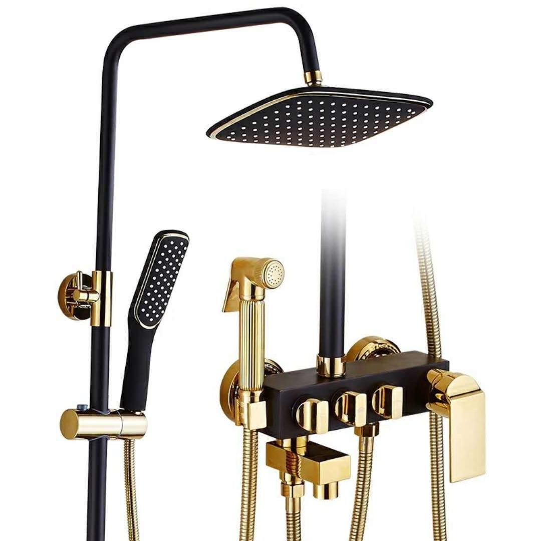 European Copper Antique Black Shower Set Bidet Booster Shower Head Shower System 8 Wall Mount One Handle with Hand Shower