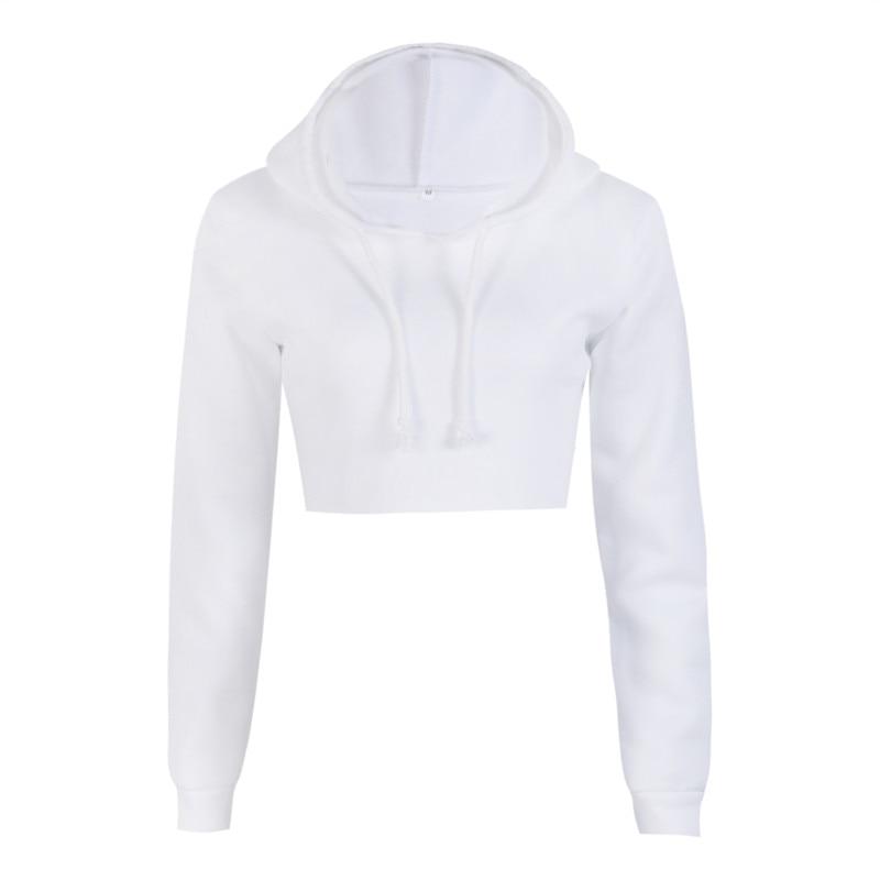 ef4eae0877f Fashion White Short Hoodies Womens Ladies Girls Plain Casual Crop Top Pullover  Hooded Sweatshirt Jumper Hood-in Hoodies   Sweatshirts from Women's  Clothing ...