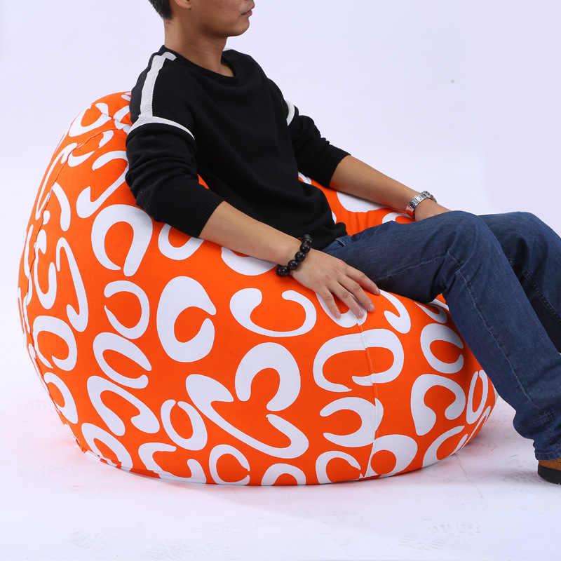 Impresso Tampa Do Sofá do Saco de Feijão Espreguiçadeira Preguiçoso Sofá Do Saco de Feijão Sem Preencher Cadeiras Ao Ar Livre Pufe Puff Sofá Assento Tatami Sala de Estar quarto