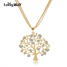 LongWay Unique Crystal Tree Of Life Necklaces Pendants Gold Plated Chains Necklaces For Women 2017 New year Gifts SNE160113