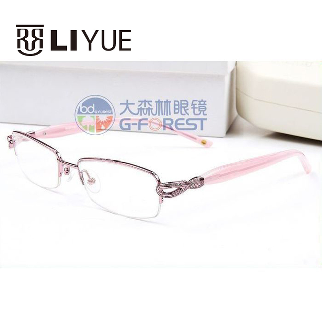 Moda gafas mujeres gafas marco gafas de lectura de metal vintage marco óptico monturas de gafas medio borde gafas claras sw5033
