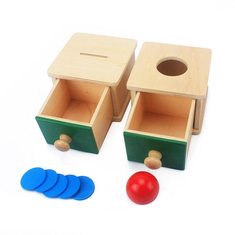 Juguete de Montessori para niños y bebés, caja de monedas de madera, alcancía, aprendizaje, educación preescolar, Brinquedos, Juguetes