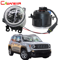 Cawanerl Car Accessories H11 4000LM LED Lamp Fog Light + Angel Eye Daytime Running Light DRL 12V For Jeep Renegade BU 2015 2018