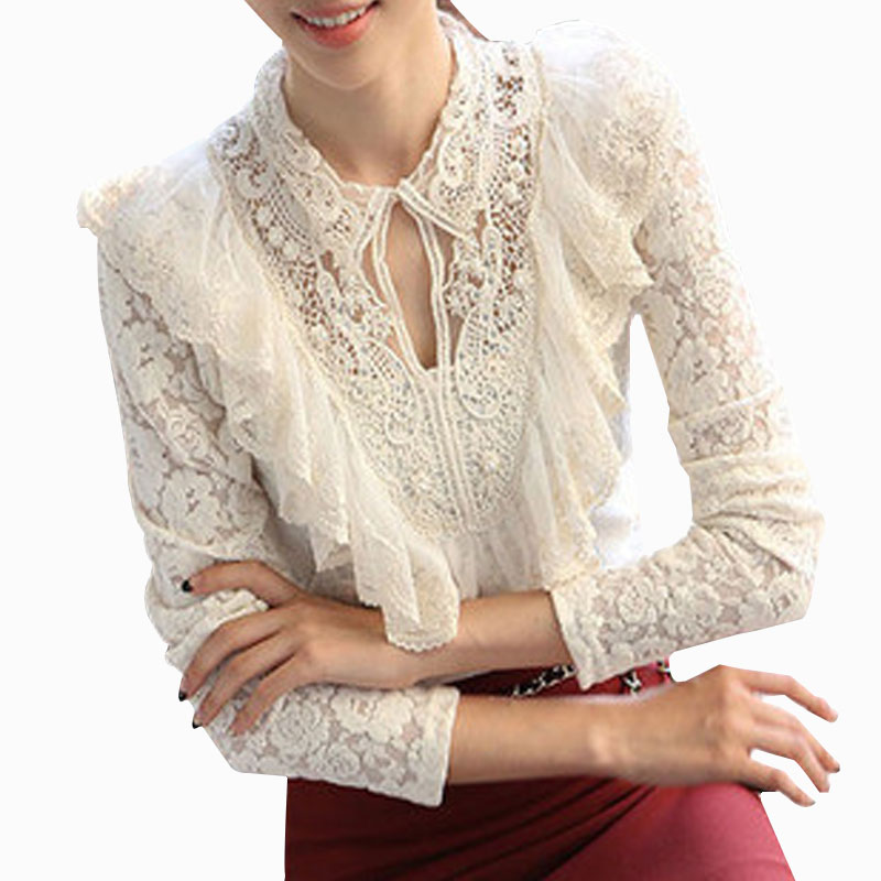 New 2017 Casual Basic Spring summer women Lace blouse chiffon shirt large size Hook flower Lady hollow out casual base S~3XL