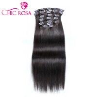 Шикарный ROSA 2 # шоколадно коричневый зажим в волосах 90 г 14 16 дюймов человеческих волос 10 шт. полный начальник Волосы remy 4 цвета Aviliable