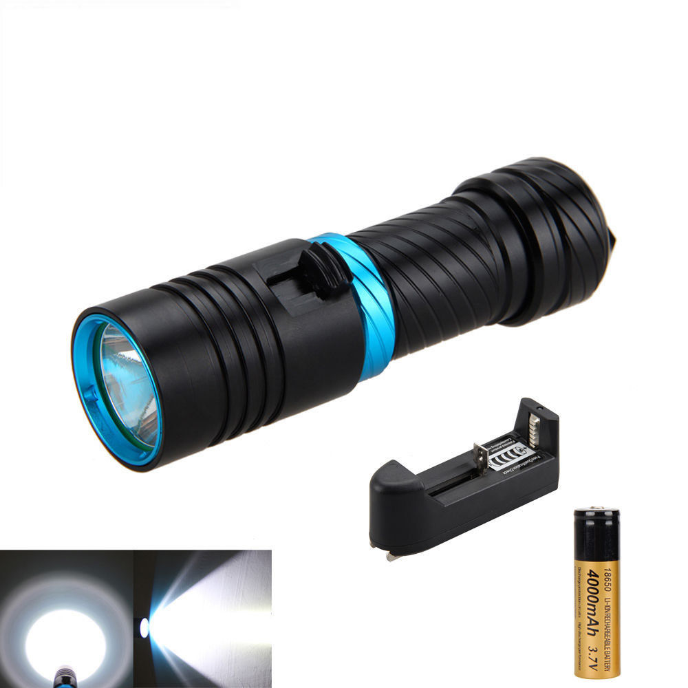 Portable 5000Lm XM-L2 LED Diving Scuba Flashlight Lantern Torch Underwater 100m With Charger+18650 Battery