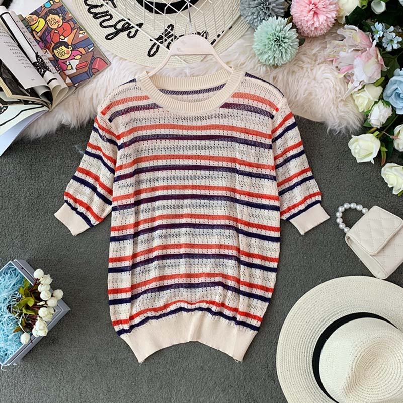NiceMix Striped Tees Women 2019 Summer O neck Short Sleeve Knitting Shirts Casual Femme Pull Ladies Pullovers O neck Short Sleev in T Shirts from Women 39 s Clothing