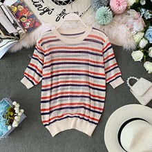 NiceMix Striped Tees Women 2019 Summer O-neck Short Sleeve Knitting Shirts Casual Femme Pull Ladies Pullovers Sleev