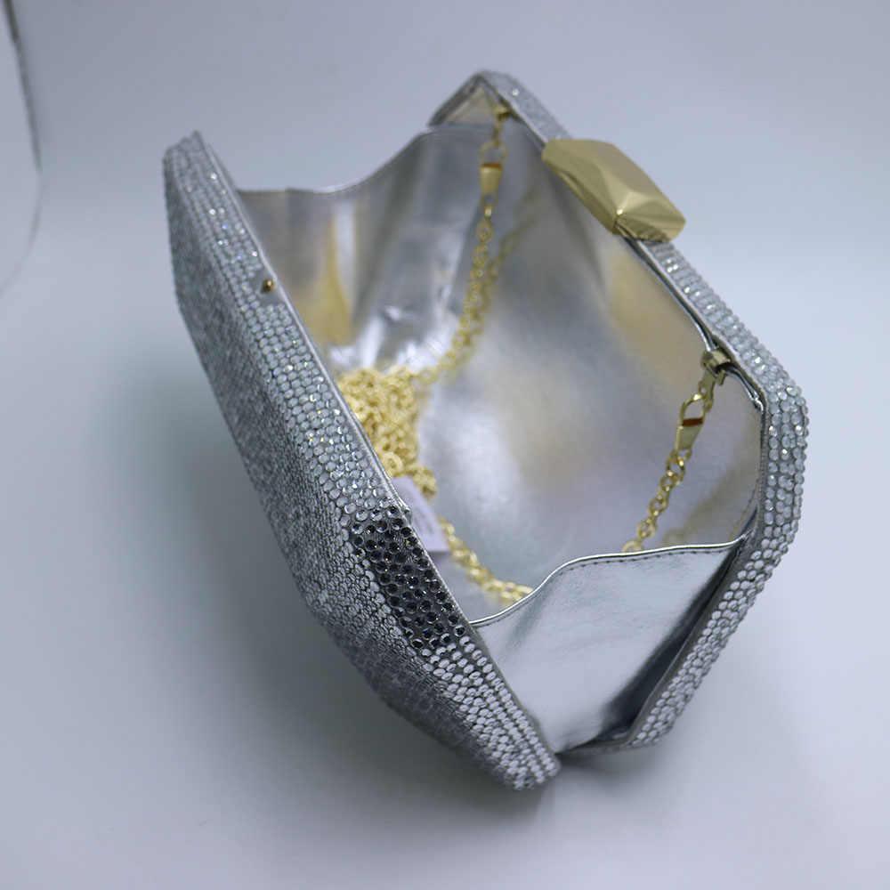 Большие золотые и бронзовые жесткие клатчи, хрустальные вечерние сумки для выпускного вечера