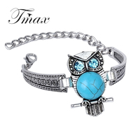 European retro Owl Bracelet Antique Silver plated Bracelet carved folk style big fashion jewelry for women girl