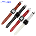 Smart Watch Black 22mm Leather Wristwatch Bands Strap Watchband Stainless Steel Butterfly Buckle For Pebble Steel