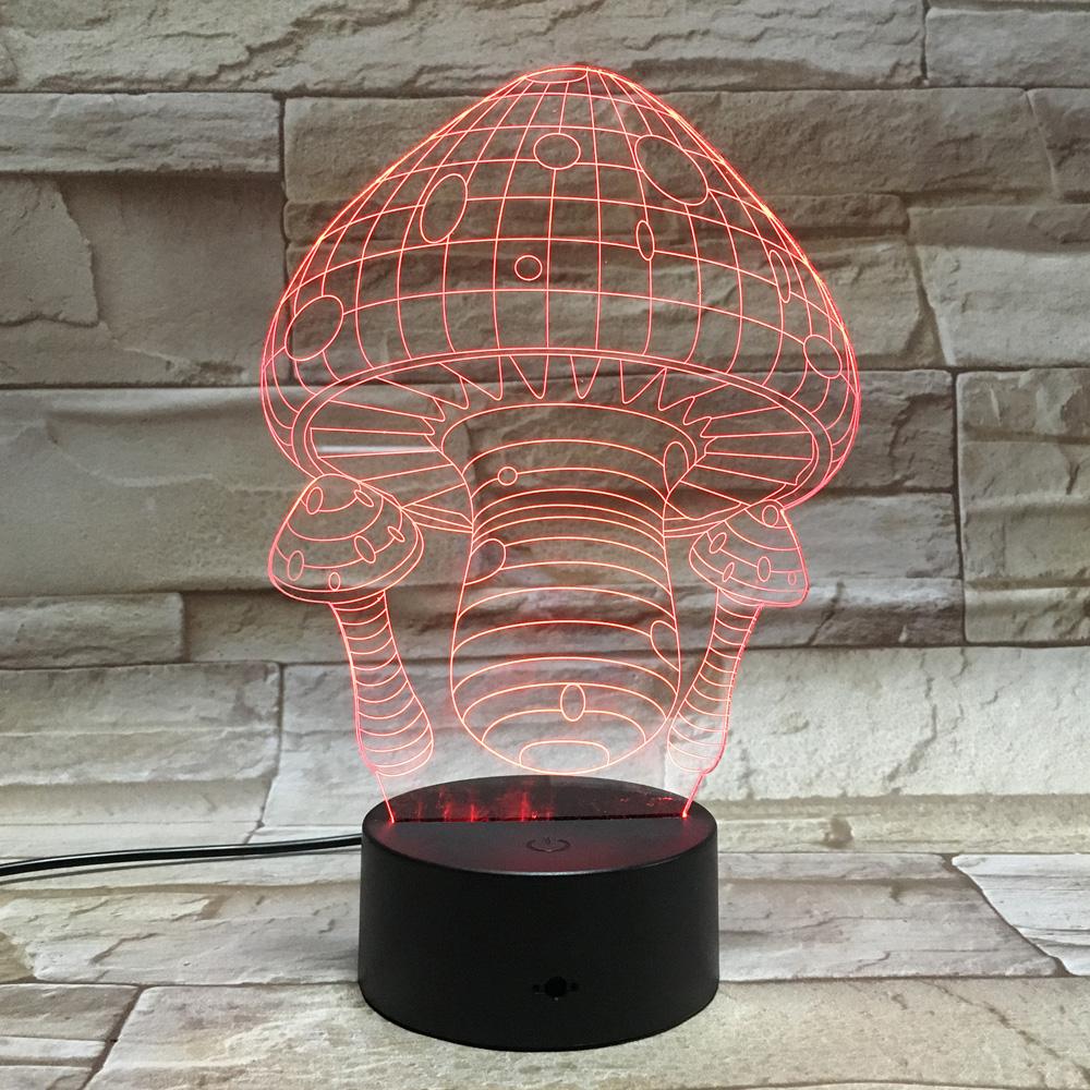 3d visuelle nocturne scintillante bijou lampe creative lamparas champignon led nuit des enfants de lumière luminaria