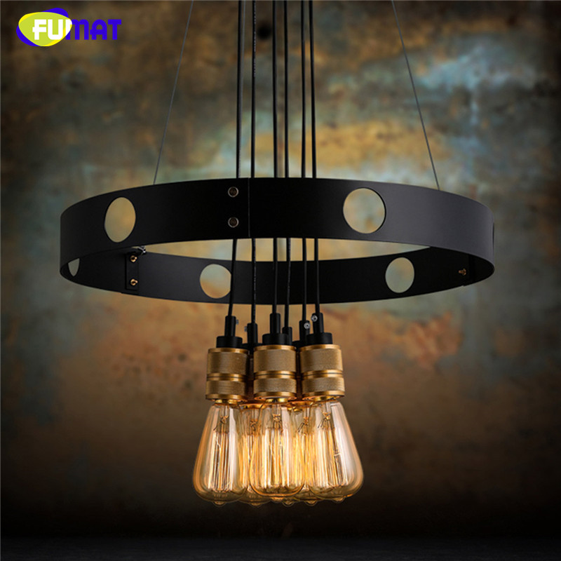 FUMAT Loft Nordic Retro Edison Bulb Light Chandelier Vintage Loft Antique Adjustable DIY Art Spider Ceiling Lamp Fixture Lights nordic vintage chandelier lamp pendant lamps e27 e26 edison creative loft art decorative chandelier light chandeliers ceiling