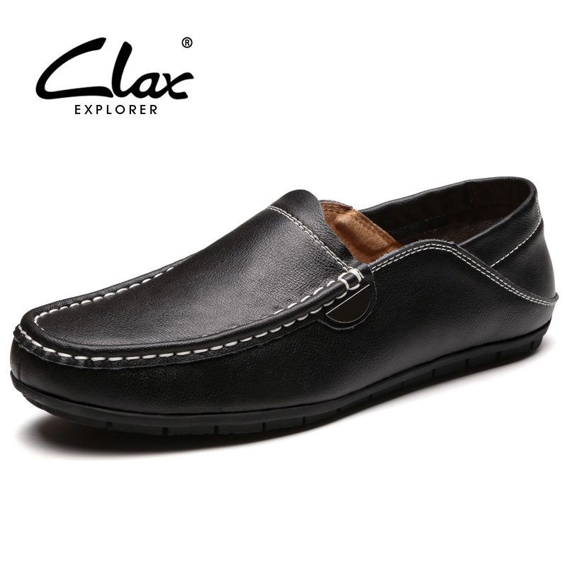 CLAX Mens Leather Loafers 2018 Spring Summer Casual Shoes Male Moocasin Slip on Soft Breathable Boat Shoe Leisure Footwear vesonal 2017 quality mocassin male brand genuine leather casual shoes men loafers breathable ons soft walking boat man footwear