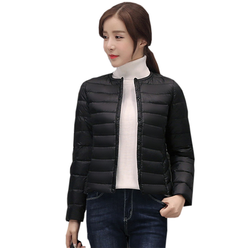 Ultra Light   Down     Coats   Women O-Neck Light Thin Slim Short Outwear   Coats   Jacket Spring Winter Female White Duck   Down     Coat   FP0389