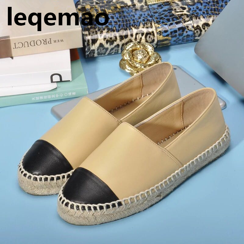 New Trend Minimalist Women Genuine Leather Espadrilles Luxury Fashion Flats Woman Casual Loafers Brand high quality Shoes 34-42 hot sale new brand fashion luxury men loafers comfortable black flats casual shoes high quality nuduck genuine leather shoes