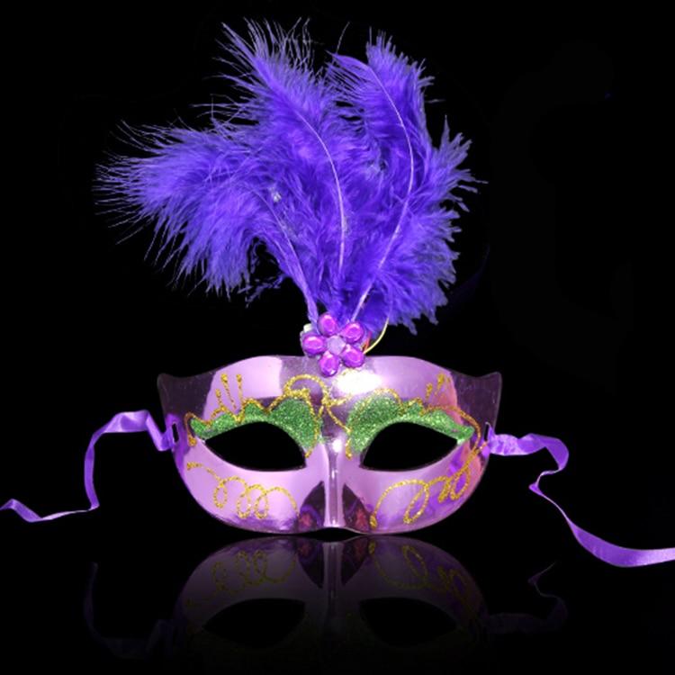 Çok Renkli Tüy PVC Prenses Maske Seksi Yortusu Venedik Bauta Maske - Tatiller ve Partiler Için - Fotoğraf 6