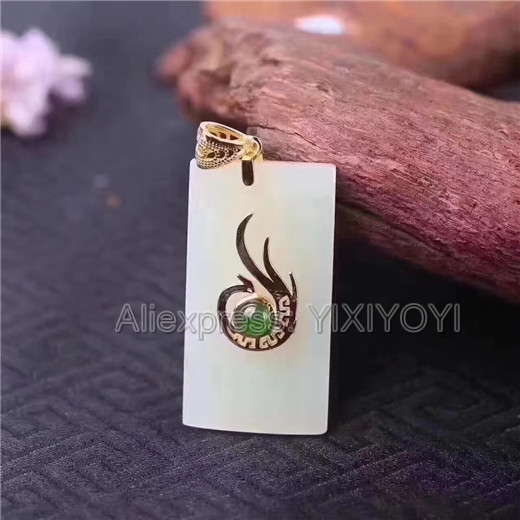 Beautiful 925 Sterling Silver White HeTian Jade Fire Phoenix Design Lucky Pendant + Chain Necklace Fine Jewelry Charm Gift