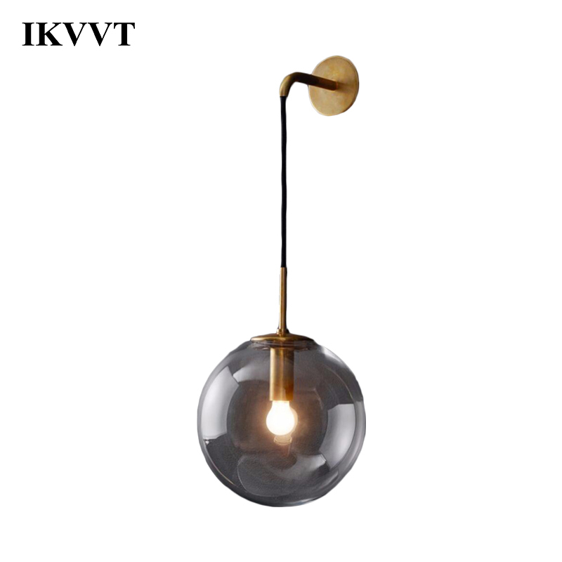 IKVVT Nordic Modern LED Wall Lamp Glass Ball Bathroom Mirror Bedside American Retro Wall Light Sconce Wandlamp Aplique Murale ikvvt nordic modern led wall lamp glass ball bathroom mirror bedside american retro wall light sconce wandlamp aplique murale