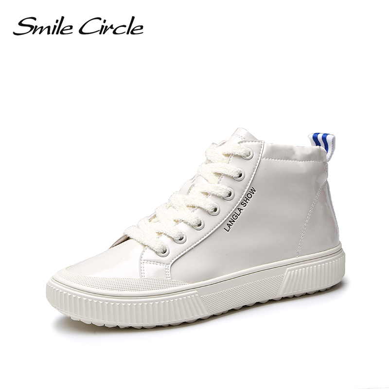 Smile Circle Patent leather Sneakers Women Lace-up High-top Flat shoes 2018 Ladies Fashion Platform casual shoes white red black doratasia flowers embroidery women shoes sneakers lace up fashion flat platform ladies shoes woman high quality