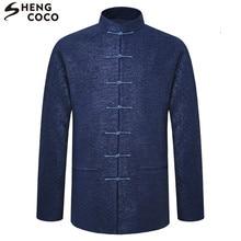SHENG COCO Tang traje chino Tops manga larga masculina primavera ropa  suelta primavera chaqueta de estilo chino Zhongshan hombre. f6cf926ed9b