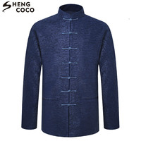 SHENG COCO Tang Costume Chinese Tops Male Long Sleeve Spring Clothes Loose Spring Chinese Style Jacket Zhongshan Traditional Men