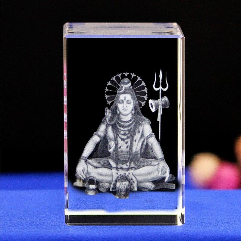 Efficace maison famille Talisman-inde hindou dieu hindouisme Shiva Figurine 3D statue en cristal-frais de port gratuits