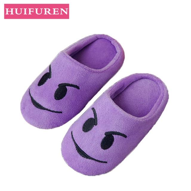 נעלי נשים נעלי בית רך קטיפה מקורה רצפת ביטוי סניקרס חמוד Emoji בית נעל רך תחתון חורף חם נעלי לחדר שינה