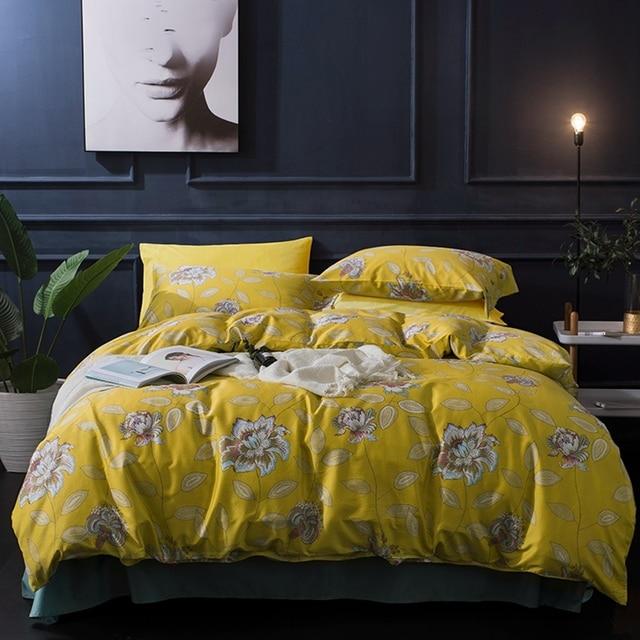 gelb blumen bettbezug sets 100 gyptischer baumwolle blau einfarbig bettw sche kissenbezug. Black Bedroom Furniture Sets. Home Design Ideas