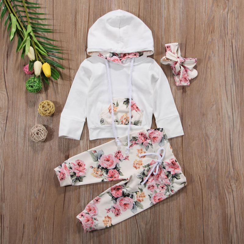 2018 Fashion Toddler Baby Girl Kids 3PCS Floral Sweatshirt Hoodies+Pants Outfit with Headband Casual Playsuit In Spring/Autumn
